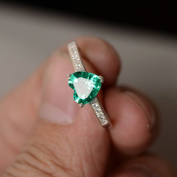 Lab Emerald Ring Heart Gemstone Ring Promise Ring by KnightJewelry