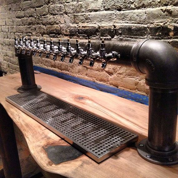 Custom 12 tap draft beer tower black iron pipe bar for Painting black iron pipe
