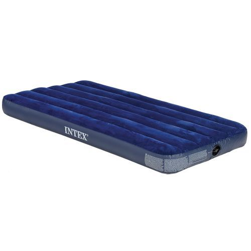This airbed is fine for car camping where you will have the ability to use an electric pump.  It is very comfortable and is only $8.99 at Academy. Two of these will fit in the Compass tent posted on this Pinterest board. You can also see the optional airbed with built in foot pump.  INTEX® Classic Downy Twin-Size Airbed