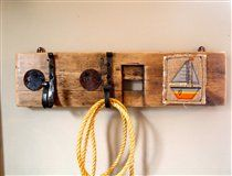 Double hook with Embroidered Boat - drift wood, reclaimed timber, rope, recycled metal hooks, embroidery, boat, sailing, beach