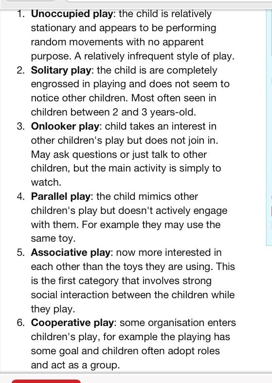 Mildred Parten, six types of play