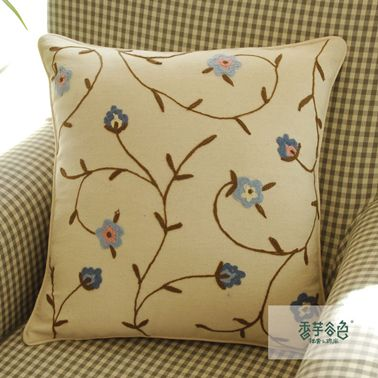 Small Blue Flower Embroidery Pillow