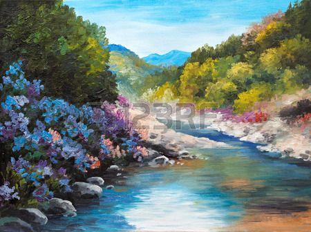 Olejomalba - horské řeky, květiny u skály, lesy, venkovní; tapeta; dekorace photo