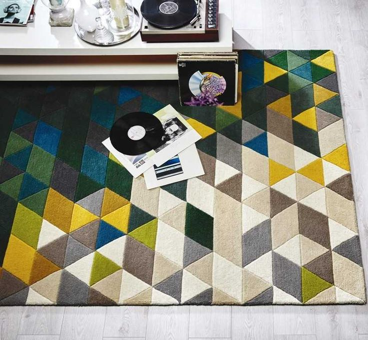 Illusion Prism - Green / Multi Rugs | Modern Rugs