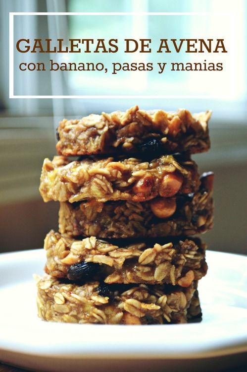 Galletas de Avena con Banano, Pasas y Manías