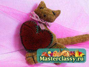 День Святого Валентина своими руками. Игрушка кошка с сердцем. Мастер класс