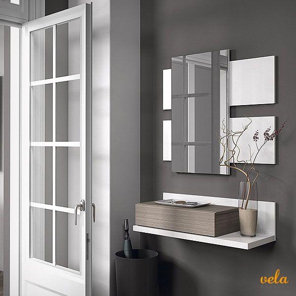 Echa un vistazo a este recibidor con cajón + espejo. Color blanco brillo y fresno. Medidas: 75 x 116 x 29 cm de fondo. Mira qué precio de oferta