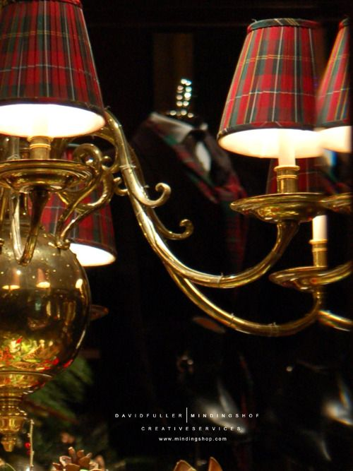 Tartan chandelier lamp shades - perfect!
