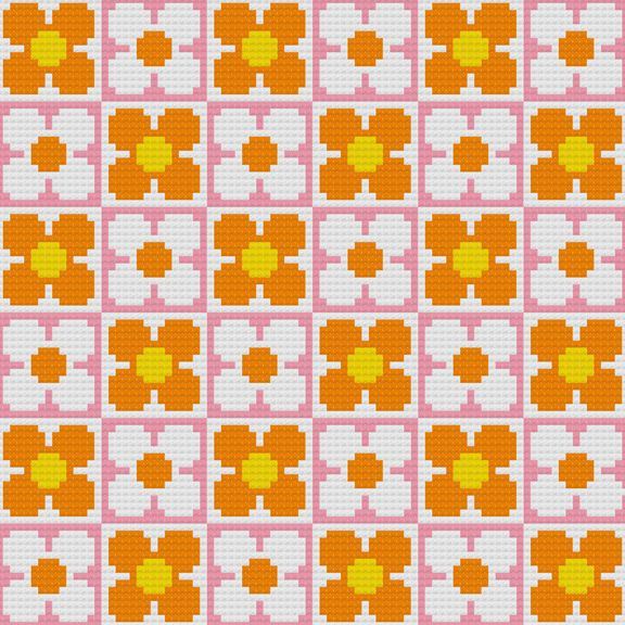 Kitschy Digitals :: Sewing & Needlework Patterns :: Retro Flowers Wallpaper Cross-Stitch Pattern