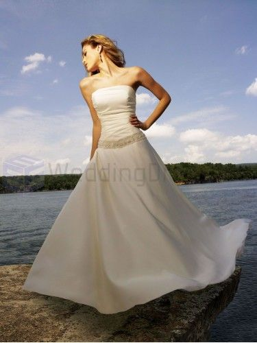 A-line Organdy Ruched Bodice Strapless Neckline Sweep Train Wedding Dresses