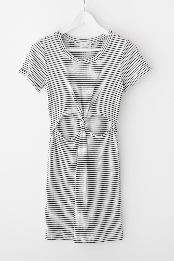 "Striped t-shirt dress with a cut-out front knot and short cuffed sleeves. Made with stretchy ribbed knit material. Size small measures approx. 33"" in length. Fitted bodycon silhouette. 96% Rayon 4% Spandex Made in USA"
