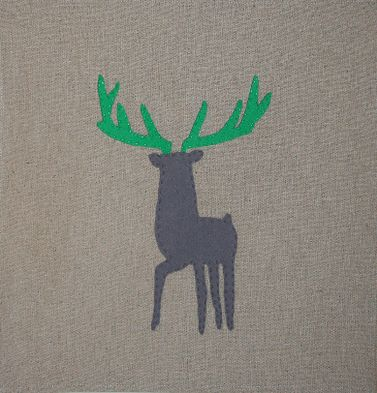 BOW & ARROW felt on linen.  Stag Available framed or unframed