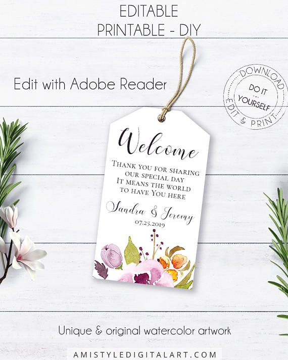 Bohemian Printable Welcome Tag, with colorful and stylish watercolor wild flowers for your bohemian wedding.This vivid welcome gift tag listing is an instant download EDITABLE PDF so you can download it right away, DIY edit and print it at home or at your local copy shop by Amistyle Digital Art on Etsy