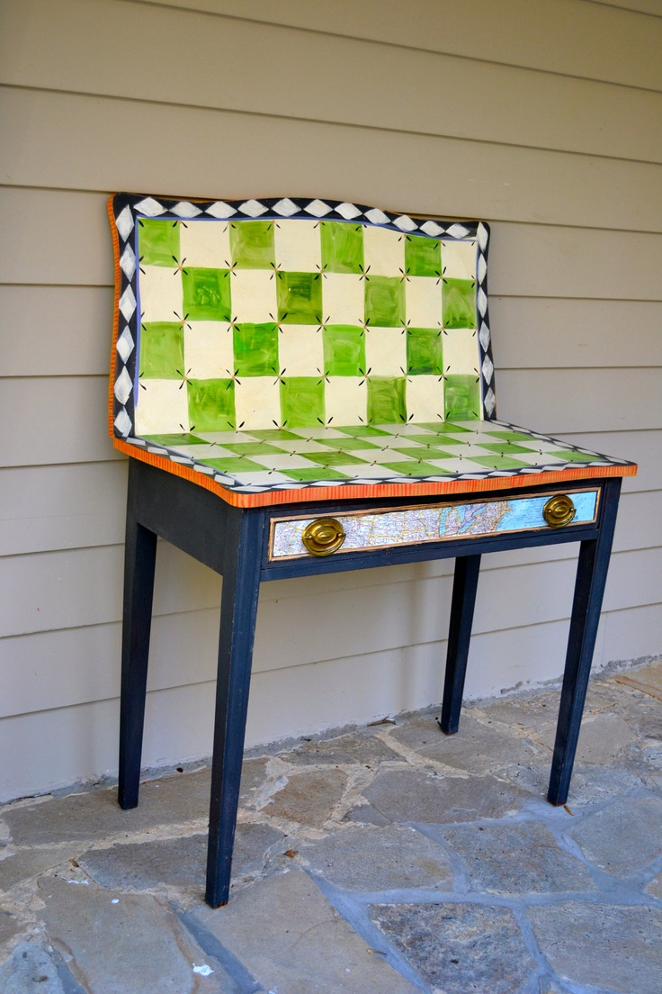 Vintage Handpainted Green Check Game Table Painted