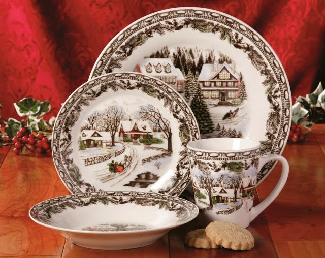 Gibson Home Christmas Toile 16 Piece Dinnerware Set Multicolor. & 10 best Christmas Dinnerware Sets For The Holidays images on ...