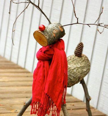 Christmas reindeer (Rudolph) from logs // Rönk Rudolf - rénszarvasos karácsonyi dekoráció // Mindy - craft & DIY tutorial collection