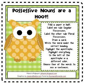 13 best possessive nouns images on pinterest possessive nouns pitners potpourri hoot owl possessives freebie fandeluxe Gallery