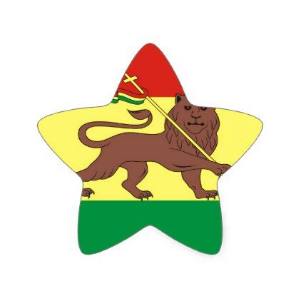 Old Ethiopian Flag with Lion of Judah Star Sticker - sticker stickers custom unique cool diy