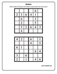 Printable Activity Sheets,Sudoku Worksheets,Educational Activities for Kids