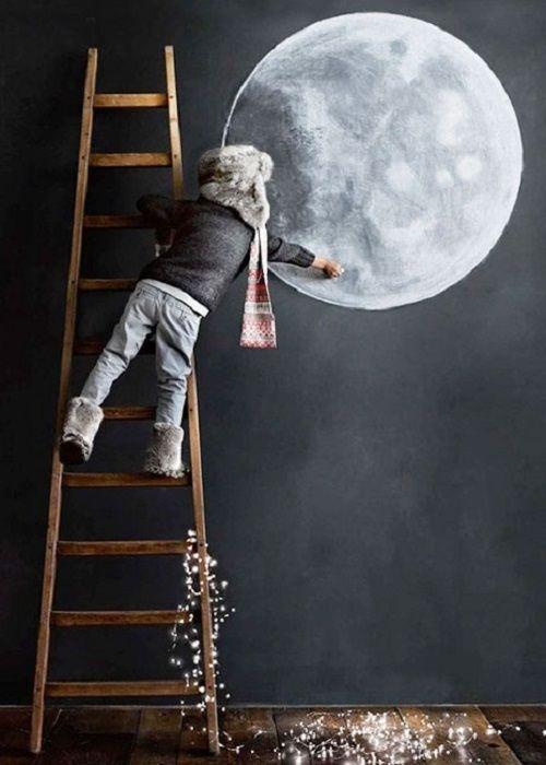 cunado hacemos un acabado de pizarra en una pared podemos dejar volar nuestra imaginacion para dibujar