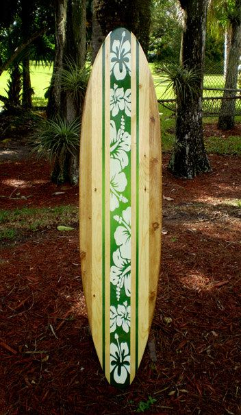 Green 5 foot Tropical Classic Solid Wood Surfboard Wall ...