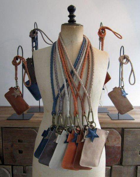 Stylish handgemaakte stoere leren keykoord bags door Karin Ellenberger van Label 88