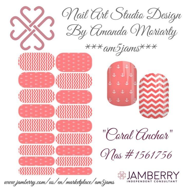 """Jamberry NAS design by Amanda Moriarty """"Coral Chevron"""""""