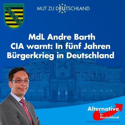 #Bürgerkrieg US-Geheimdienst CIA kündigt für spätestens 2020 Bürgerkrieg und Unregierbarkeit in Deutschland und anderen europäischen Ländern an. — #AfD