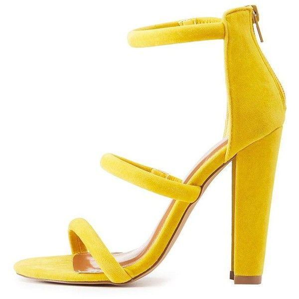 Shoe Republic LA Tubular Three-Piece Sandals ($36) ❤ liked on Polyvore featuring shoes, sandals, yellow, zip shoes, cushioned sandals, block heel shoes, block heel sandals and strappy shoes