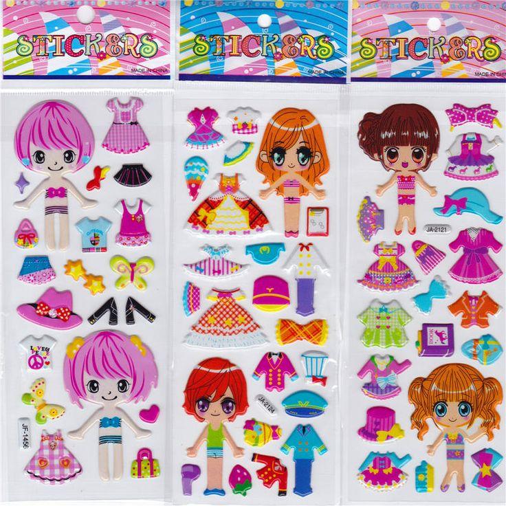 10 unids/lote niños pegatinas de dibujos animados educativos del rompecabezas 3D estéreo kindergarten recompensa pegatinas de burbuja vestido de las muchachas