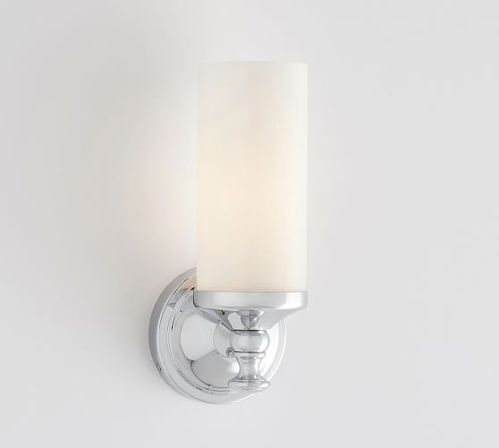 our mercer single tube sconce is crafted with mouthblown frosted glass to cast a warm bright glow in the bath available in a choice of handapplied - Bathroom Wall Sconces
