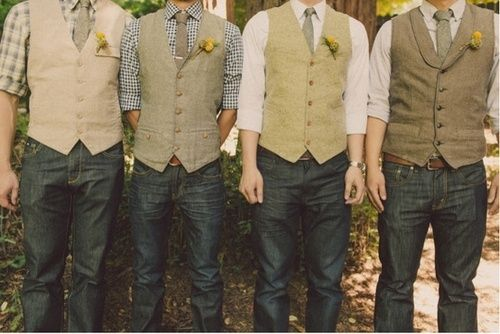 Groomsmen in jeans  vests for a more casual look -- I know Donald doesn't want jeans, but I love the vests  shirts!