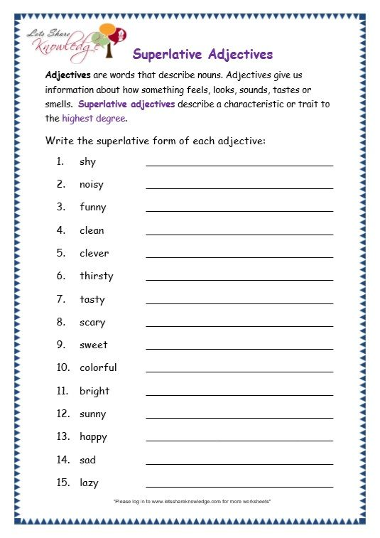 Comparative and superlative exercises for grade 3