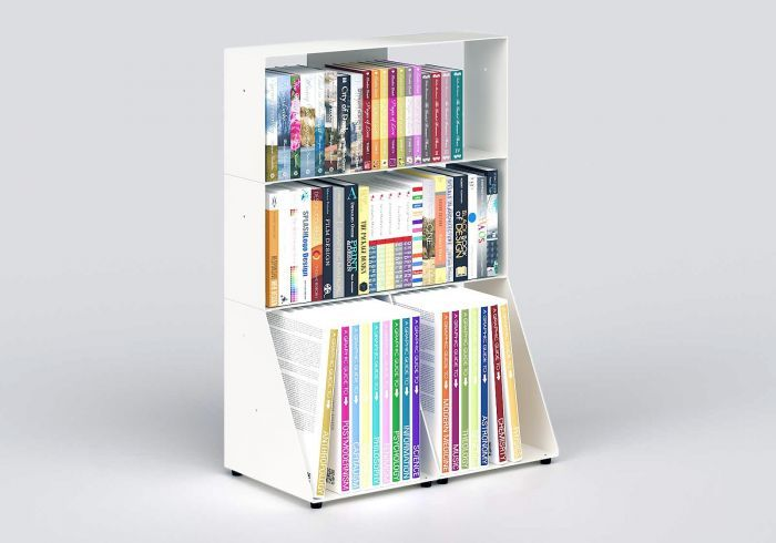 Bibliotheque Basse 60 Cm Metal Blanc 3 Niveaux In 2020 Small Bookcase Best Engagement Gifts Shelves