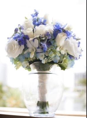 blue white wedding bouquet-too much blue?