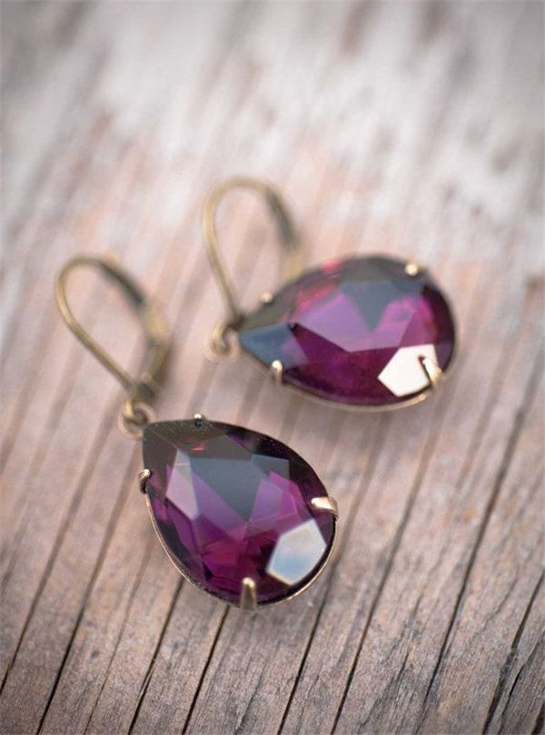 Amethyst Earrings Radiant Orchid Estate Style Dangle Vintage Earrings