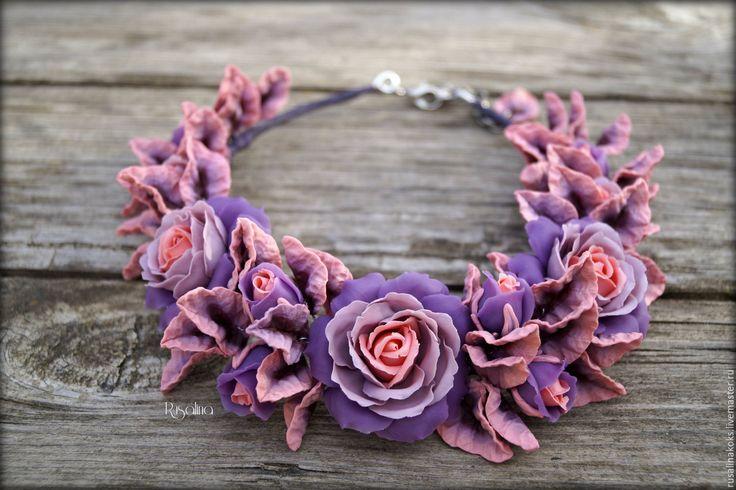 """Купить Колье """"Фиолетовый бархат"""" - фиолетовый, колье, колье с розами, колье с цветами"""