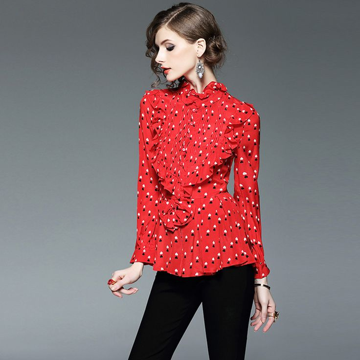 High Quality 2017 New Women's  Blouses Long Sleeves shirts Casual luxury silk red ruffles Fashion females Tops