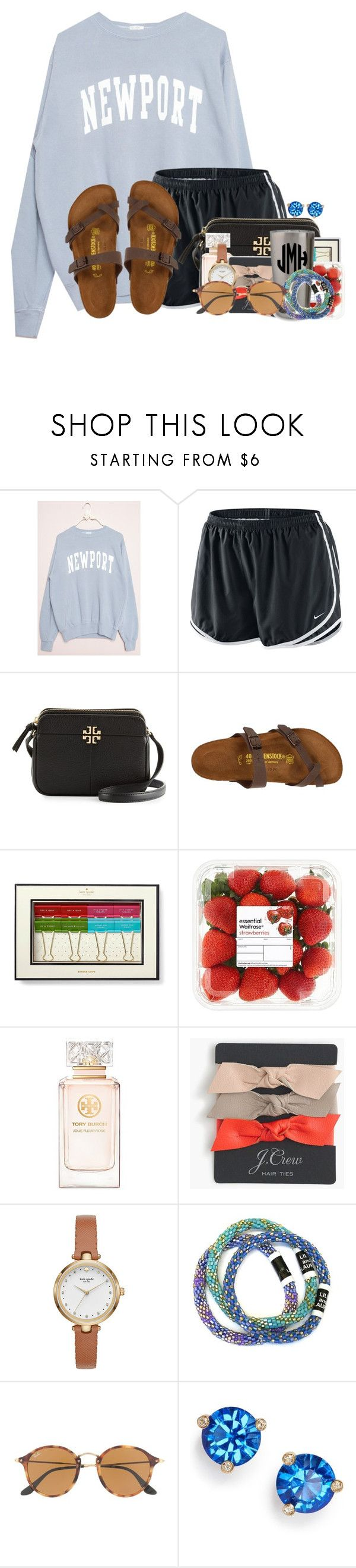 """""""Today was not one of my best days"""" by flroasburn ❤ liked on Polyvore featuring NIKE, Tory Burch, Birkenstock, Kate Spade, J.Crew and Ray-Ban"""