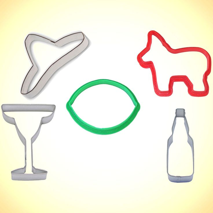 Cinco De Mayo Cookie Cutter 5 piece set includes: 3.5 in green lime, 4 in. margarita glass, 4.5 in. bottle, 4 in. pinata, and 4.75 in. sombrero. Neatly packed in a cellophane bag with cookie recipe.