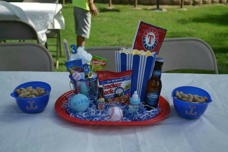 Texas ranger baby shower table pieces