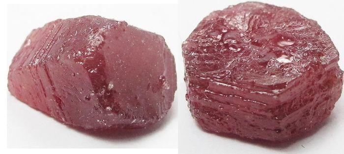 Online veilinghuis Catawiki: 2 ruwe robijnen - 17 x 15 x 9 mm - 23.05 karaat en 18 x 17 x 7 mm - 29.58 karaat