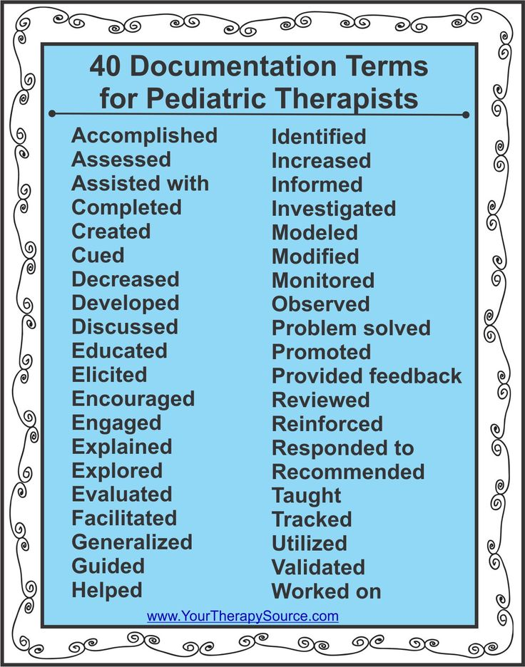 Your Therapy Source 40 Documentation Terms For Pediatric Perfect List Writing Reports