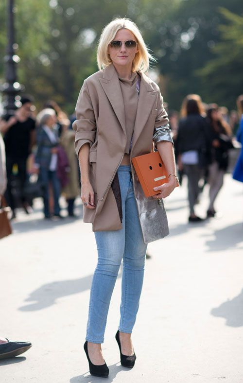 Street Style: Paris Fashion Week Spring 2014 Camel and lt wash jeans