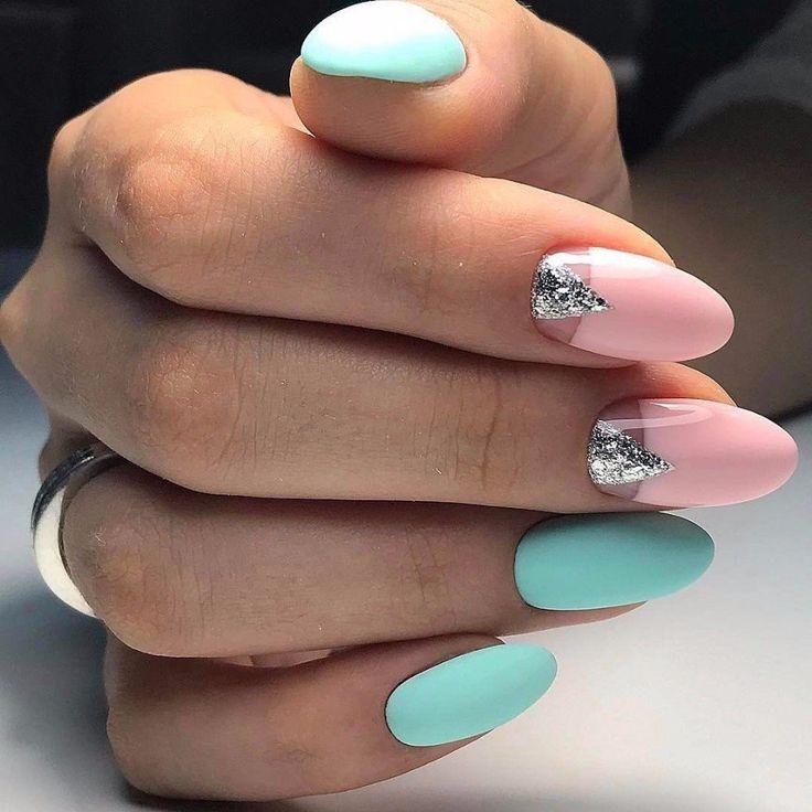 ногти, маникюр, мятные ногти, розовые ногти, геометрия на ногтях, manicure, design nails art