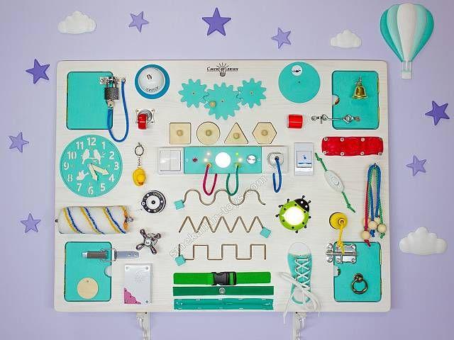 Бизиборд макси классик Смекалкин, бизиборд для мальчика, развивающая доска, доска с замочками и кнопочками. Busy board, activity board, sensory board