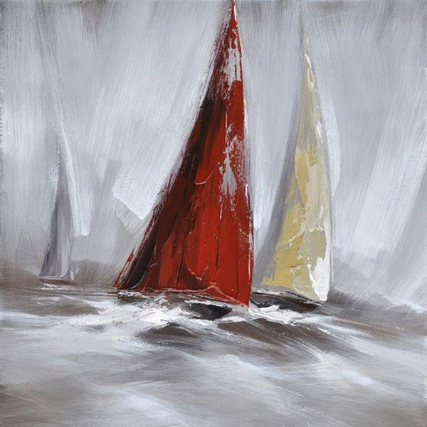 Tableau voilier rouge et blanc 31,5x31,5'' 94002                                                                                                                                                     Plus