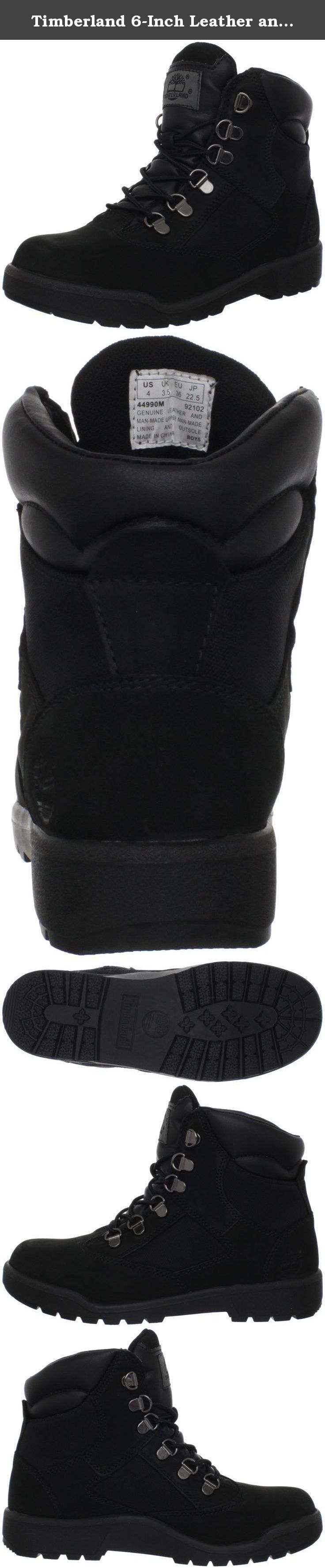 Timberland 6-Inch Leather and Fabric Field Boot (Toddler/Little Kid/Big Kid),Black Nubuck,6 M US Big Kid. The Timberland Field Boot features a premium, full-grain leather or nubuck upper with mesh for comfort, durability and abrasion resistance.Embossed Timberland tree logo and metal plate.