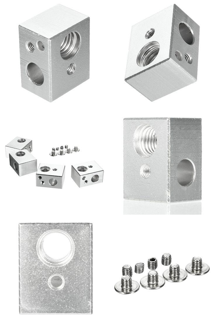 [Visit to Buy] NEW 4pcs MK10 Heating Blocks M7 thread for Wanhao Dupicator D4 /I3/ Dremel 3D Printer 20x16x11.5mm Aluminium Silver Alloy #Advertisement