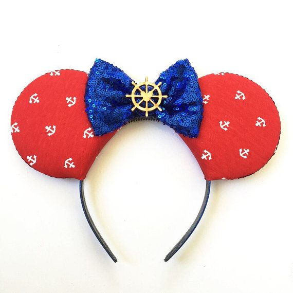 Nautical Mickey Ears Mickey Mouse Ears Sailor by ToNeverNeverland